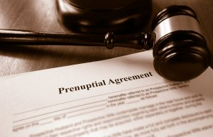 Prenuptial agreement with gavel